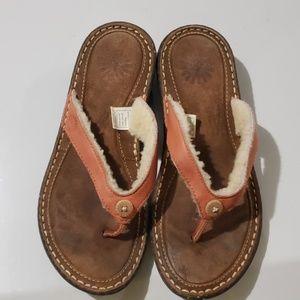 UGG Australia Leather Fur Sandals Sz 6